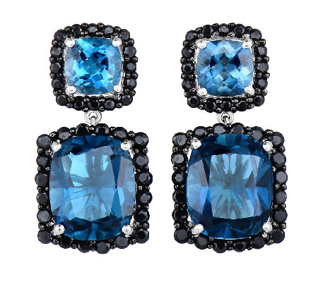 12.50cttw London Blue Topaz & Black Spinel Earrings, Sterling