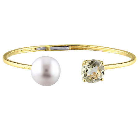 Gemstone & Cultured Pearl Top Hinge Cuff, Sterling/14K Plated