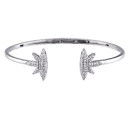 0.95cttw Created White Sapphire Bangle, Sterling