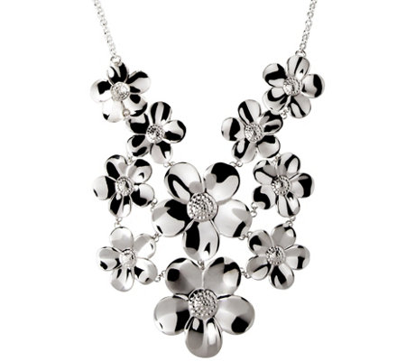 Italian Silver Sterling Polished Multi-Flower N ecklace