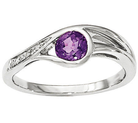 Gemstone and Diamond Accent Loop Ring, 14K White Gold