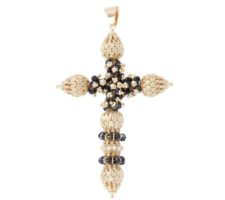 Arte d'Oro Gemstone & Filigree Bead Cross Pendant, 18K