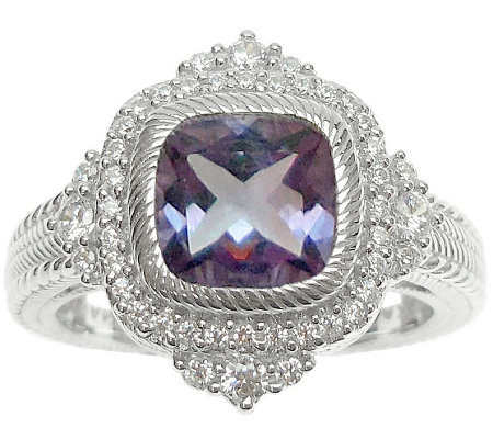 Judith Ripka Sterling Diamonique Cushion Cutamethyst Ring