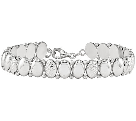 "14K White Gold Diamond-cut Beaded 7-1/4"" Bracelet, 14.1g"