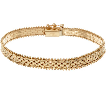 "Imperial Gold 6-3/4"" Panther Link Riccio Bracelet, 14K, 10.3g"