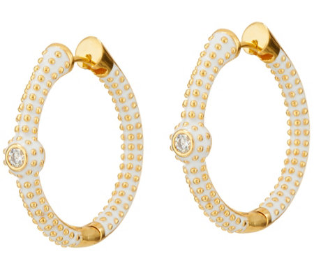 Lauren G Adams Goldtone Pave Hoop Earrings