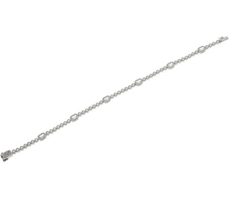 "Judith Ripka Sterling 8"" Diamonique Bezel Set Tennis Bracelet"