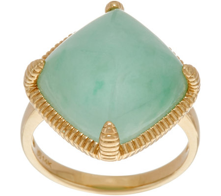 Jade Cushion Shaped Bold Ring 14K Gold