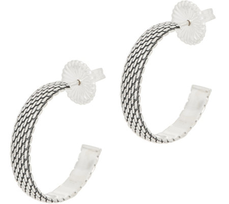JAI Sterling Silver Mesh Hoop Earrings