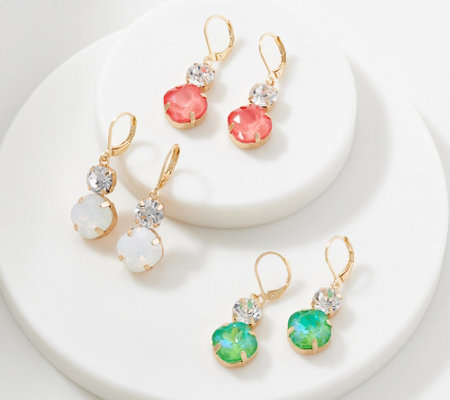 Joan Rivers Set of 3 Crystal Earrings with Double Drop