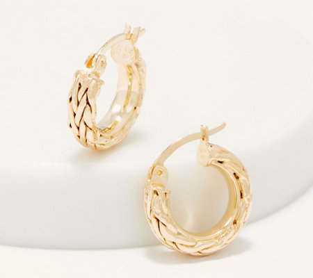 "14K Gold 1/2"" Wheat or Polished with Rope Border Hoop Earrings"