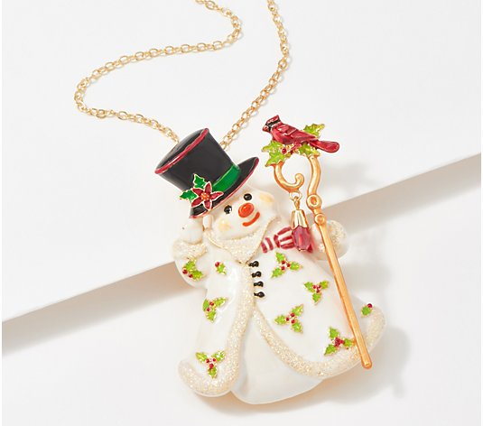 Kirks Folly Dapper Dan Snowman Pin Pendant Necklace