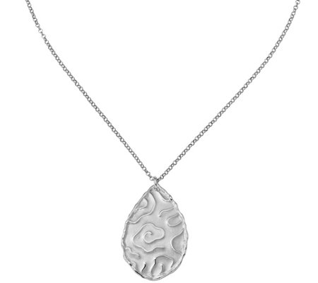 Sterling Teardrop Pendant with Chain, 6.9g by Silver Style