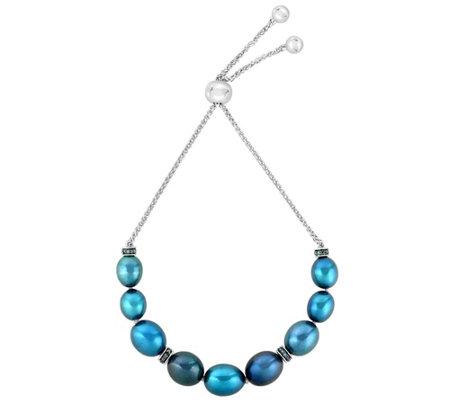 Honora Cultured Pearl Diamond Adjustable Sterling Bracelet