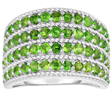 Sterling 2.00 cttw Chrome Diopside 4-Row Band Ring