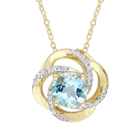 Sterling & 14K Gold 2.60-ct Blue & White TopazPendant w/Chain