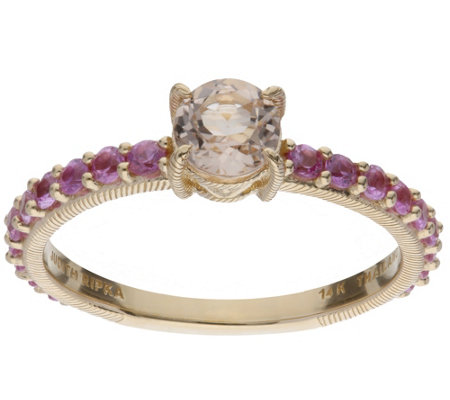 Judith Ripka 14K Gold Round Gemstone Ring