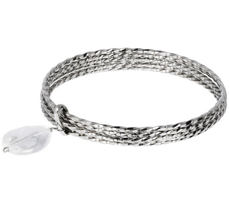 Steel by Design Average Multi-Bangle Charm Bracelet