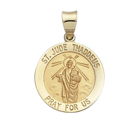 14K Yellow Gold Round St. Jude Medal