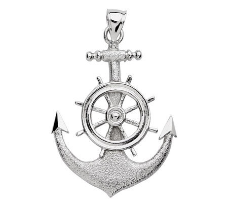 Sterling 2-D Anchor & Ships Wheel Pendant