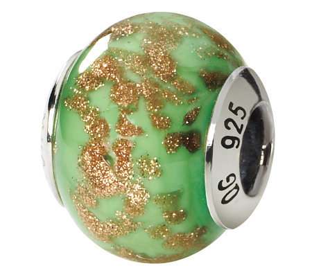 Prerogatives Sterling Green/Gold Italian MuranoGlass Bead