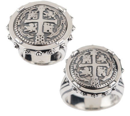Barry Cord Sterling Spanish Doubloon Ring — QVC com