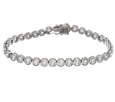 Epiphany Diamonique 100 Facet Bezel Set Tennis Bracelet