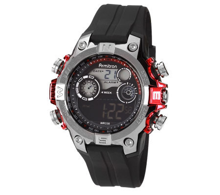 Armitron Men's Red Accented Digital Sport  Watch