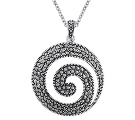 Suspicion Sterling Marcasite Swirl Pendant withChain