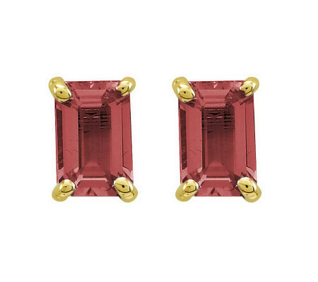 Emerald-cut Gemstone Post Earrings, 14K Gold