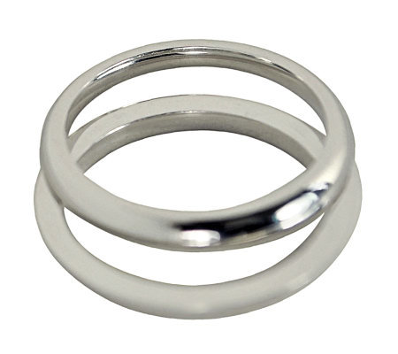 Sterling 2MM Unisex Wedding Band Double R ing Guard