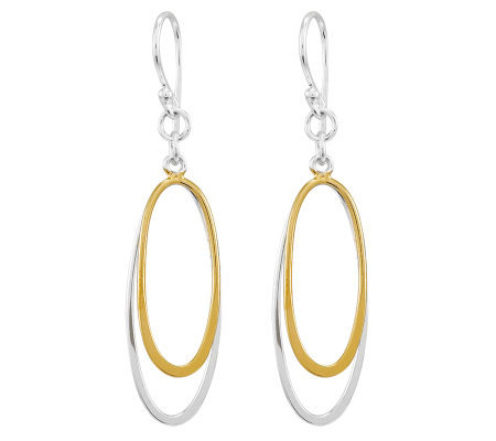 Sterling Two-Tone Polished Double Oval Dangle Earrings