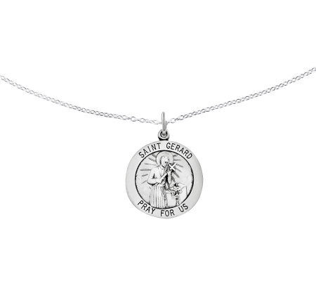 "Sterling Saint Gerard Round Solid Pendant w/ 18"" Chain"