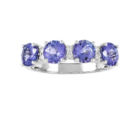 2.45 cttw Round Tanzanite Four-Stone Band Ring,14K White Gold