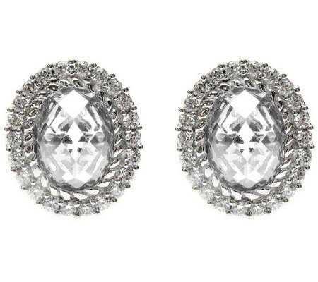 Judith Ripka Sterling Oval Diamonique Halo Earrings