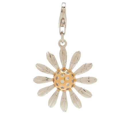 """As Is"" Isaac Mizrahi Live Diamonique Daisy Charm 18K Clad"