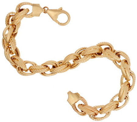 "Vicenza Gold 8"" Double Rope Link Bracelet 14K, 8.1g"