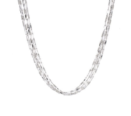 """As Is"" Vicenza Silver Sterling 18"" Baguette Link Necklace 15.0g"