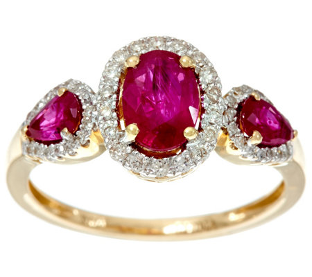 Oval & Pear Cut Mozambique Ruby & Diamond 3-Stone Ring 14K, 1.00 cttw