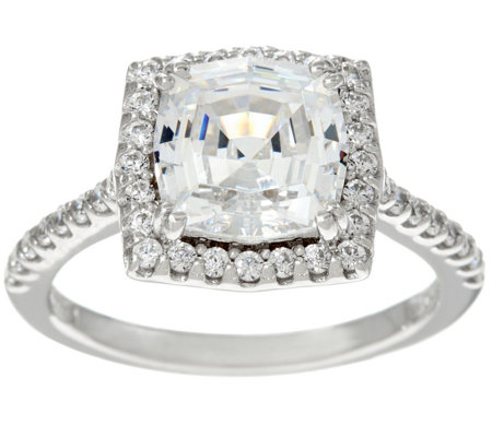 Diamonique Octagon Asscher Cut Halo Ring, Sterling