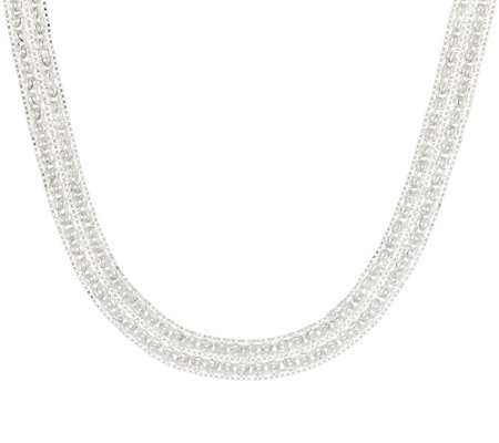 "Sterling Silver 16"" Double Byzantine Necklace, 28.50g"