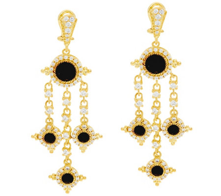 Judith Ripka Sterling & 14K Clad Faceted Black Spinel Earrings