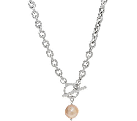 Honora Cultured Pearl Ming Drop Toggle Necklace Sterling