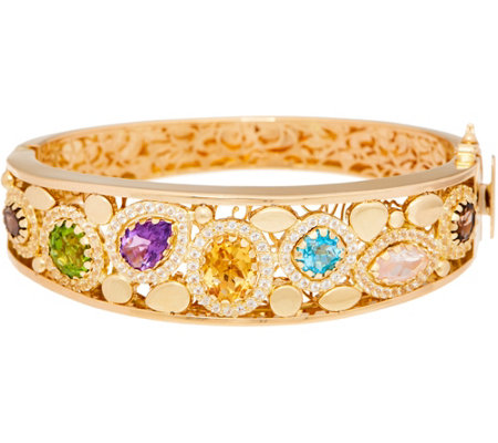 Arte d' Oro Small Multi-gemstone Oval Bangle 18K, 26.7g