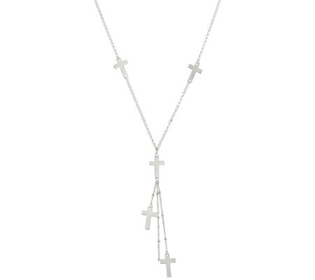 "Sterling Silver 18"" Cross or Heart Y-Necklace by Silver Style"