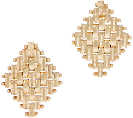 Imperial Gold Diamond Shape Polished Stud Earrings, 14K Gold