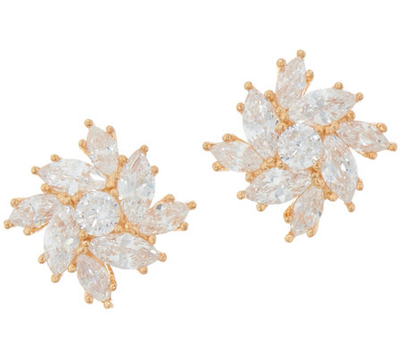 Diamonique Floral Marquise Stud Earrings, Sterling or 14K Gold Plated