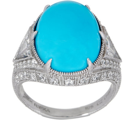Judith Ripka Sterling Silver or 14K Clad Turquoise Cocktail Ring