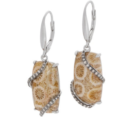 Fossilized Coral Drop Earrings, Sterling Silver