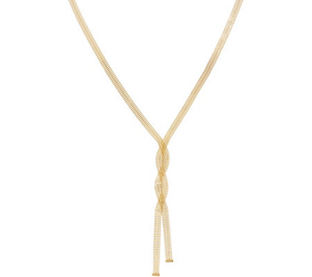 Italian Gold Twisted Lariat Necklace, 14K Gold